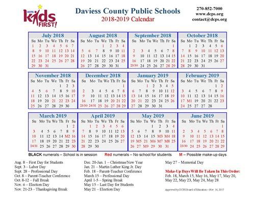 Dcps 2018 2019 Calendar Now Available Daviess County High School